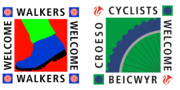 walkers welcome and cyclists welcome logos